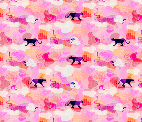 Pink eclectic rainforest wild animals fabric by yopixart on Spoonflower - custom fabric