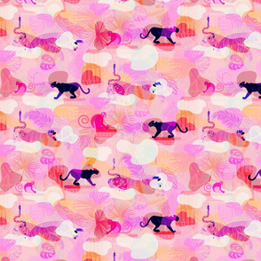 Pink eclectic rainforest wild animals