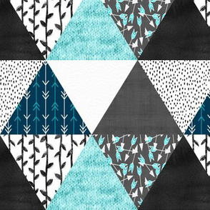 Triangle Cheater Quilt in Blue