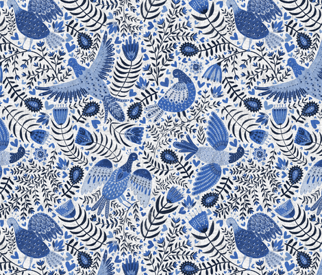 Scandinavian birds, indigo blue fabric by rebecca_reck_art on Spoonflower - custom fabric