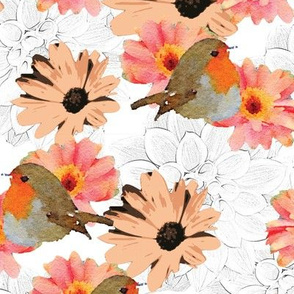 Robins Daisies and Dahlias Upholstery Fabric