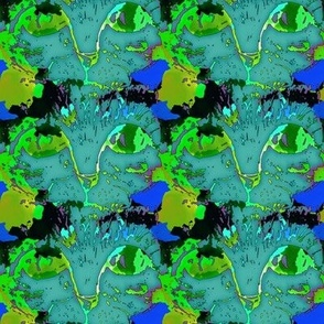 CATS EYES POP ART TEAL GREEN CHECKERBOARD SMALL