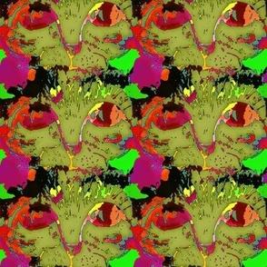 CATS EYES POP ART MOSS GREEN RED CHECKERBOARD