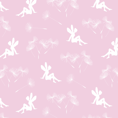 dandelion seeds and fairy - pink fabric by stofftoy on Spoonflower - custom fabric
