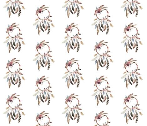 Boho Dreamcatcher // Blush and Plum fabric by hipkiddesigns on Spoonflower - custom fabric