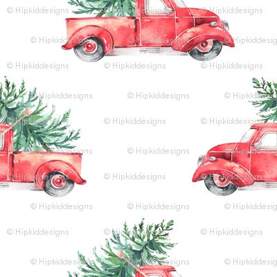 "6"" Vintage Christmas Trucks // White"