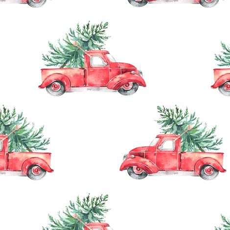 "6"" Vintage Christmas Trucks // White fabric by hipkiddesigns on Spoonflower - custom fabric"