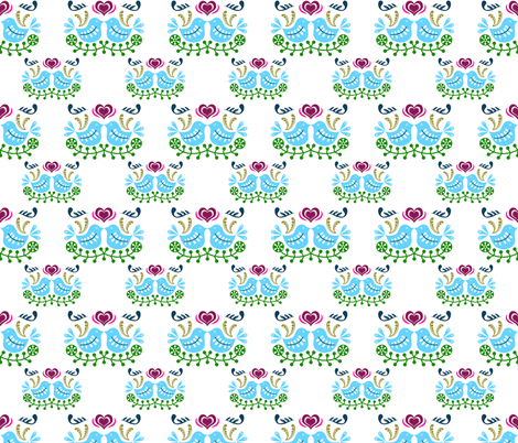 Blue Bird Folk Art fabric by thewellingtonboot on Spoonflower - custom fabric