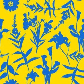 Provencal French Country Blue and Yellow Flowers