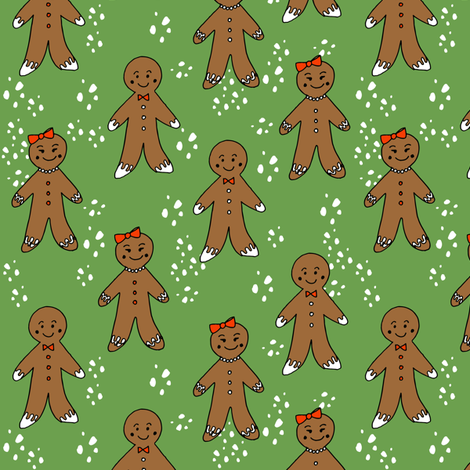gingerbread cookies christmas fabric holiday foods cute green fabric by andrea_lauren on Spoonflower - custom fabric