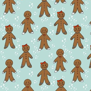gingerbread cookies christmas fabric holiday foods cute mint