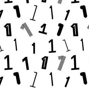 1 numbers minimal black and white typography fonts