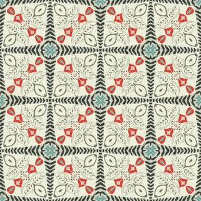 Folk Art Christmas Quilt Tile