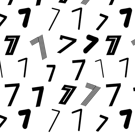 7 numbers minimal black and white typography fonts fabric by charlottewinter on Spoonflower - custom fabric