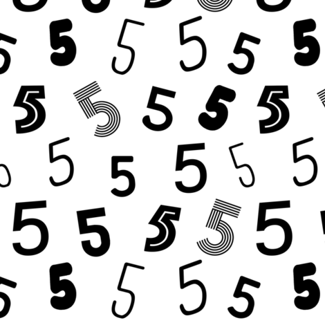 5  numbers minimal black and white typography fonts fabric by charlottewinter on Spoonflower - custom fabric