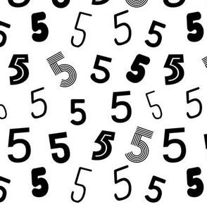 5  numbers minimal black and white typography fonts