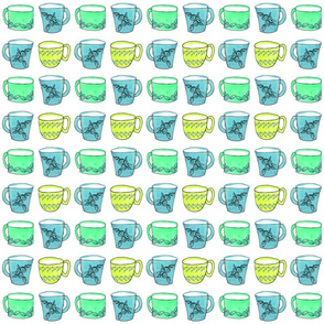 Green teal and blue mugs