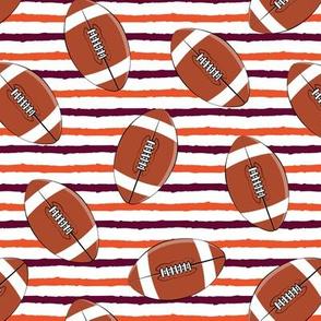 college football - stripes (maroon and orange)