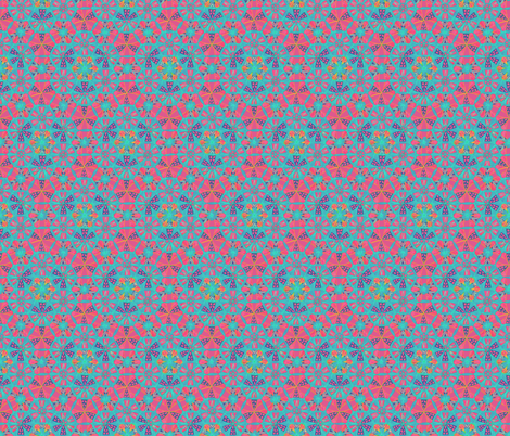 Mosaic Hand Drawing Pattern Blue Pink fabric by cveti on Spoonflower - custom fabric