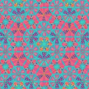 Mosaic Hand Drawing Pattern Blue Pink
