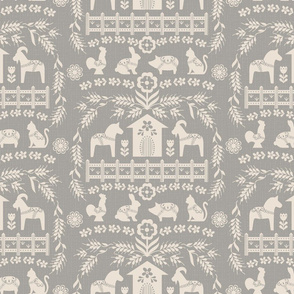 Dala Farm in Grey // swedish folk art dala horse cat rooster pig goat bunny farm warm grey fabric
