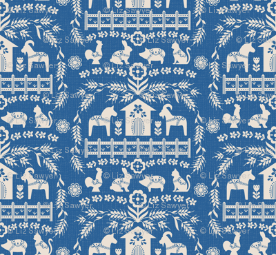 Dala Farm in Blue // swedish folk art dala horse cat rooster pig goat bunny farm bright blue fabric