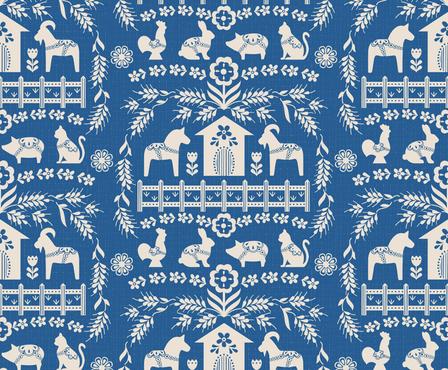 Dala Farm in Blue // swedish folk art dala horse cat rooster pig goat bunny farm bright blue fabric fabric by liz_sawyer_design on Spoonflower - custom fabric