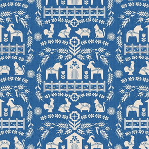 Dala Farm in Blue // swedish folk art dala horse cat rooster pig goat bunny farm bright blue fabric