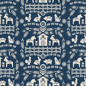 Dala Farm in Navy // swedish folk art dala horse cat rooster pig goat bunny farm navy blue fabric