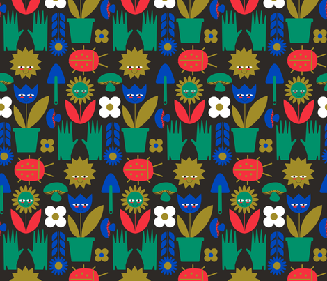Happy Garden fabric by bashfulbirdie on Spoonflower - custom fabric