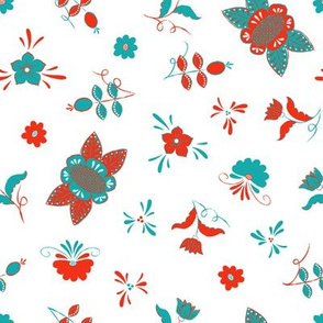 Swedish Folk Art Flowers Mixed Turquoise Red