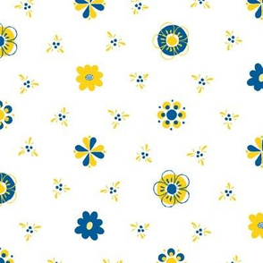 Swedish Folk Art Flowers Blue Yellow