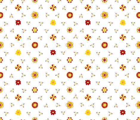 Swedish Folk Art Flowers Red Yellow Green fabric by wickedrefined on Spoonflower - custom fabric