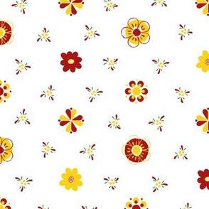 Swedish Folk Art Flowers Red Yellow Green