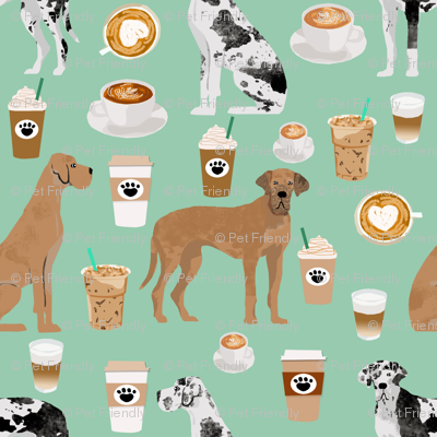 great dane coffee fabric - dogs and coffees fabric - mint - medium size