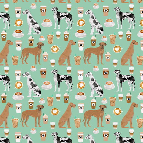 great dane coffee fabric - dogs and coffees fabric - mint - medium size fabric by petfriendly on Spoonflower - custom fabric