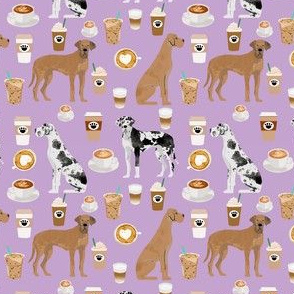 great dane coffee fabric - dogs and coffees fabric - purple - medium size