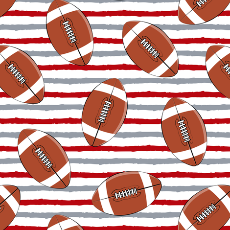college football - red and grey stripes fabric by littlearrowdesign on Spoonflower - custom fabric