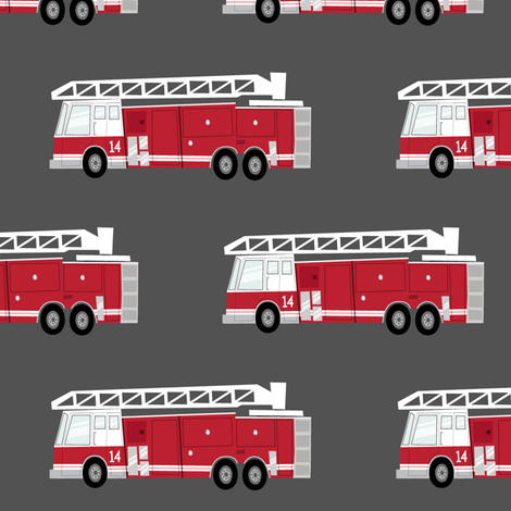 (large scale) fire trucks - dark red fabric by littlearrowdesign on Spoonflower - custom fabric