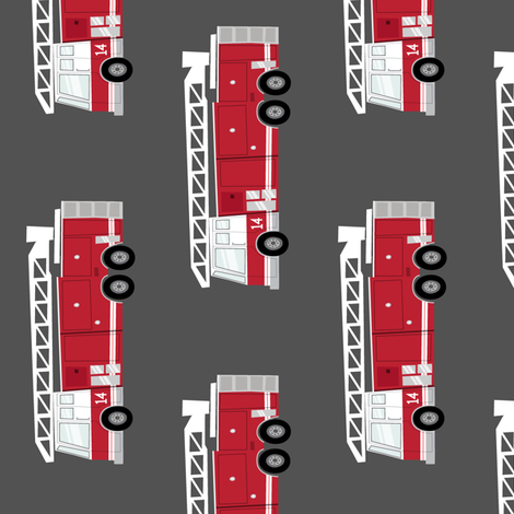 (large scale) fire trucks - dark red (90) fabric by littlearrowdesign on Spoonflower - custom fabric