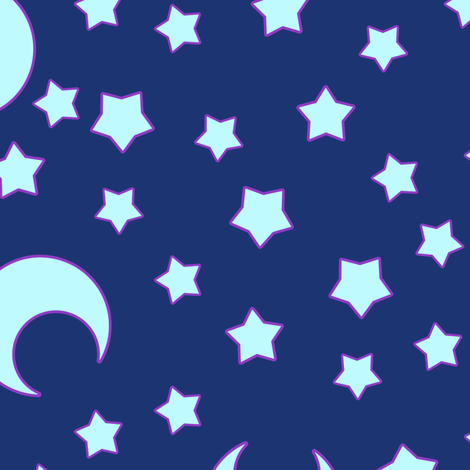 Moons for CutiEs Dark fabric by elladorine on Spoonflower - custom fabric