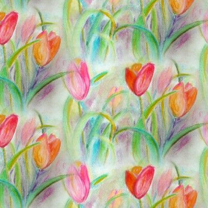TULIP FIELDS BOUQUET ORIGINAL CHALK PASTEL