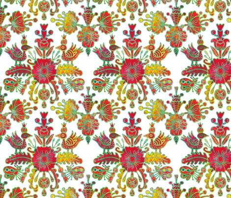 Scandinavian birds and flowers in red and gold fabric by acheartist on Spoonflower - custom fabric