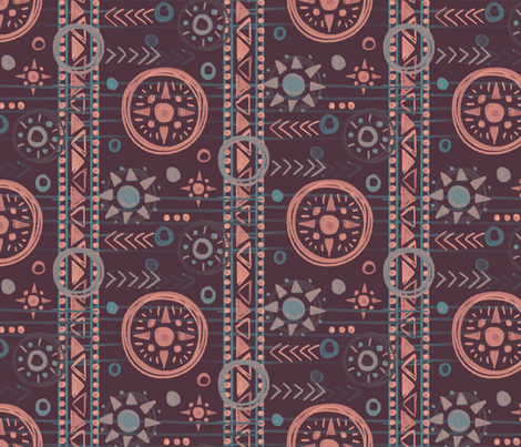 Bohemian Geometry Plum fabric by hollybender on Spoonflower - custom fabric