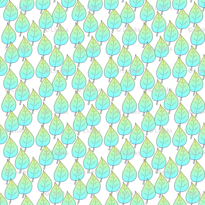 Gradient Blue and Yellow Leaves Upholstery Fabric