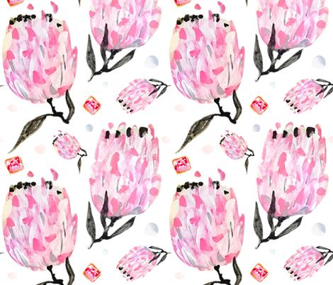 Protea & Iced Vovos // Australian wild flowers waratah pink flora fabric by mountvicandme on Spoonflower - custom fabric