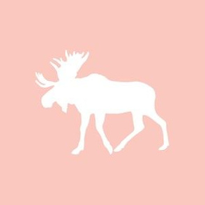 "Quilt block - 6"" Moose on pink"