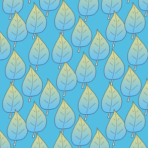 Gradient Leaves Blue Green Upholstery Fabric