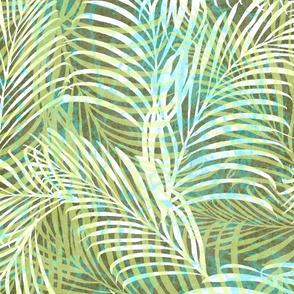 Batik Palms Olive Aqua 150