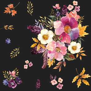 "18"" Fall Friends Basic Florals - Black"
